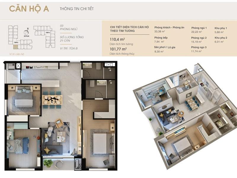 Thiết kế căn hộ A tại chung cư DLC Complex